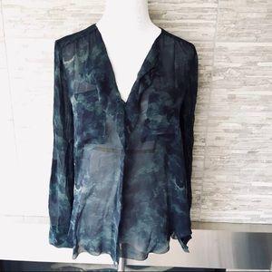 Aritzia BABATON 100% Silk Long Sleeve Blouse